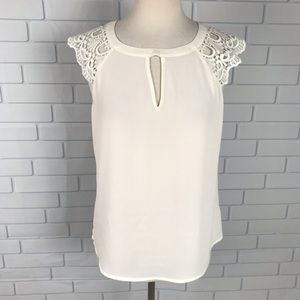 Express medium blouse lace keyhole sheer